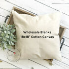 18x18 Wholesale Blank 10 oz. Cotton Canvas Throw Pillow Cover - NATURAL or WHITE