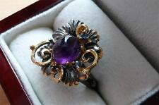 PURPLE AMETHYST & SAPPHIRE 925 STERLING SILVER GOLD RHODIUM RING SIZE P US 8
