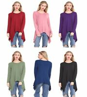 Women Hanky Hem Top Ladies Long Sleeve Hanky Hem Baggy Oversized Top Sizes 8-26