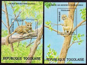 Monkeys -  Togo 1984 Endangered Wildlife set x 2 min. sheets fine fresh MNH