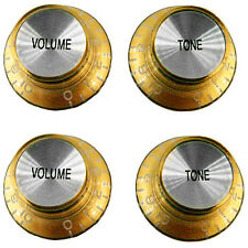 Gold with Chrome Insert Top Hat Knobs, Pkg. 4 for Les Paul Guitars
