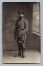 WW1 Antique GERMAN Real Photo RPPC Postcard SOLDIER w/ IRON CROSS & SWORD KNOT