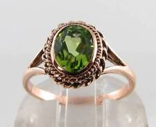 LARGE 9CT 9K ROSE GOLD AAA PERIDOT SOLITAIRE ART DECO INS RING FREE RESIZE