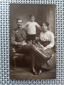 WW1 Photographic Postcard Family Group .Senior NCO WO1 Officer