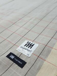 "Issey Miyake Men Grey Plaid Check Red Black Dash Lines Cotton Handkerchief 18"""