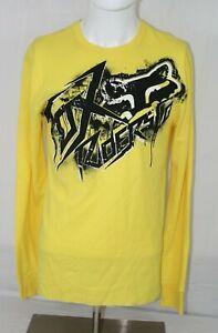 FOX Sz M Yellow Long Sleeve Cotton Poly Thermal T-Shirt Shirt