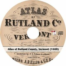 1869 Atlas of Rutland County, Vermont - Plat Maps History Book on CD