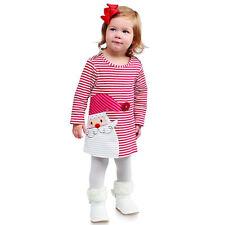 Toddler Baby Girls Santa Striped Princess Dress Christmas Ball Gown Kids Clothes