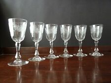 6 Antique Victorian Etched Port Glasses Probably by Stevens and Williams