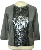 Ann Taylor Womens Gray Silver Sequin Small Cardigan Sweater Knit 3/4 Sleeves