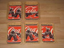 Set Of 5 Coca-Cola Advertising Bottles Wicker Basket Wall Hanging Trays/Free SH!