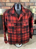 Vintage Pendleton Mackinaw Jacket Red Buffalo Plaid Cruiser Wool Mens Sz Medium