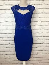Lipsy Royal Blue Lace Sweetheart Neckline Sleeveless Occasion Party Dress UK 12