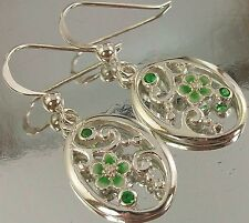 925 Sterling Silver CZ and Enamel intricate, oval Floral Design Hook Earrings