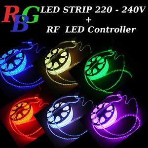 1-5m RGB LED Strip Light  220V 230V 60 pcs 5050 SMD /m Waterproof + Controller