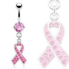 Surgical Steel Belly Bar With Pink CZ Breast Cancer Awareness Ribbon