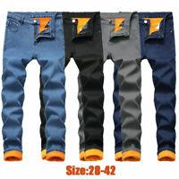 Mens Winter Thermal Denim Jeans Pants Fleece Long Warm Straight Leg Trousers