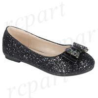 New girl's kids slip on glitter bow flower girl dress shoes formal wedding Black