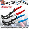 Angled 45° Long Reach Pipe Locking Hose Clamp Pliers Removal Tool Clip Swivel -