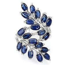 Großer Ring Saphir blau 925 Silber 585 Weißgold Ø 18.8 mm