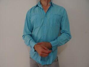 Mens YD Light Blue Press Button Shirt Size S Long Sleeve