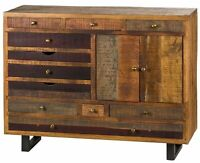 OAKTREE Range : Multi Draw Reclaimed Solid Wood Industrial Chest Brass Handle