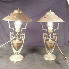 PAIR Arts & Crafts Antique Brass Gimbal Lamps Light Maritime Nautical Boat Yacht