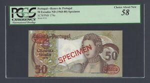 Portugal 50 Escudos ND(1968-1980)  P174s  Specimen About Uncirculated