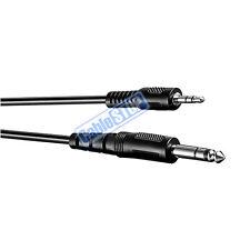 """2M - 6.35mm Estéreo Jack 1/4"""" Macho a Cable De Audio Enchufe De Auriculares 3.5mm Lead 2mtr"""