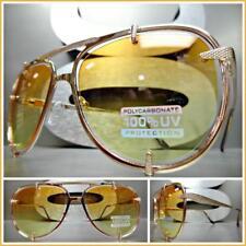 Mens or Women CLASSIC RETRO Style SUN GLASSES Rose Gold Frame Orange Yellow Lens