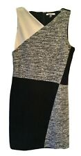 DKNY 12 Black Gray Ivory Tweed Sleeveless V Neck Color Block A-Line Dress