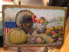 Vintage Patriotic Thanksgiving Postcard Turkey By Yellow Pumpkin, Fruit Goblet