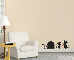 CUTE MOUSE HOLE BI-COLOR WALL STICKER Decal Home Decor Stencil Silhouette ST186