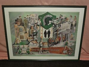 1895-1995 TROY TROJAN 100th REUNION NORTH BAY HIGH SCHOOL FRAMED SIGNED PRINT