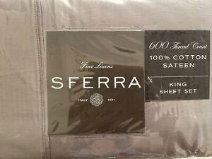 Sferra Franco 600 TC KING SET 4 PCS 100% Cotton GREY Italy