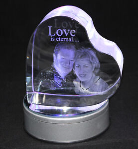 Personalised Lasered 3D Heart Photo Crystal 120x120x60mm
