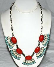 Red White Blue Glass w/ White Rhinestones Chunky Statement Adjustable Necklace