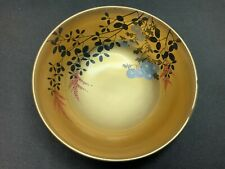 New listing Antique Japanese Lacquer Bowl Gold & Hand Painted Flowers & Foliage Interior,