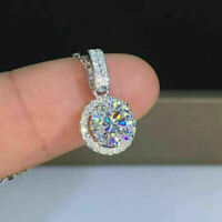 """0.69Ct Diamond Solitaire Round Necklace Pendant With 18"""" Chain 10k White Gold Fn"""