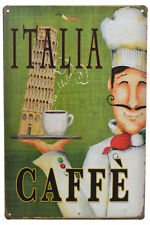 "Vintage 12"" Italian Coffee Leaning Tower of Pisa Metal Wall Sign Plaque Decor"
