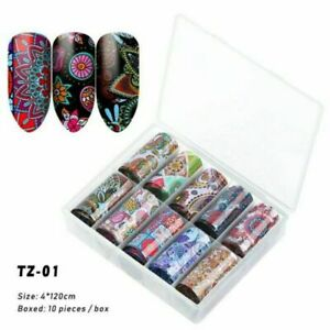 10 Rolls Nail Foils Starry Sky Nail Art Transfer Holographic Flower Stickers