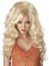 Bombshell Blonde Dolly Long Curly Big Hair Doll Pin Up Womens Costume Wig