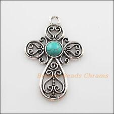 2Pcs Retro Tibetan Silver Turquoise Cross Flower Charms Pendants 31x47.5mm