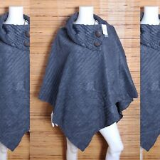 LE MODA Gray Pleated Poncho One Size New Stretchable Fabric