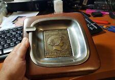 Cenicero  Piel y bronce  con Sello en metal  Vintage