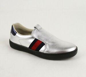 Gucci Kids Silver Metallic Leather BRB Web Blue Back Slip On Shoe 31 477540 8167
