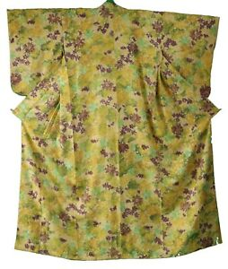 Traditional Japanese vintage Komon kimono yellow watercolour fabric