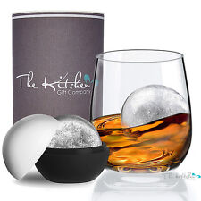 Crystal Whiskey Glass & XL Ice Ball Mould Gift - Tumbler For Scotch On The Rock
