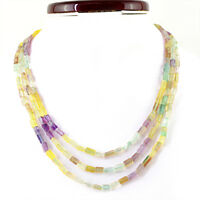 GENUINE 299.60 CTS NATURAL 3 LINE MULTICOLOR FLUORITE UNTREATED BEADS NECKLACE
