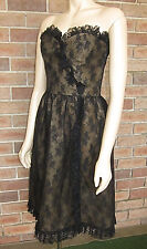 Vintage 1950s BLACK Lace Hollywood Glam Bodice Dress - Size 10 Approx.